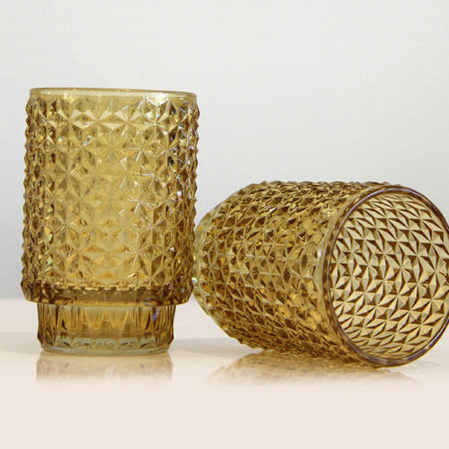 Amber Cut Glass Votive - Wedding Hire Wanaka - Major & Minor