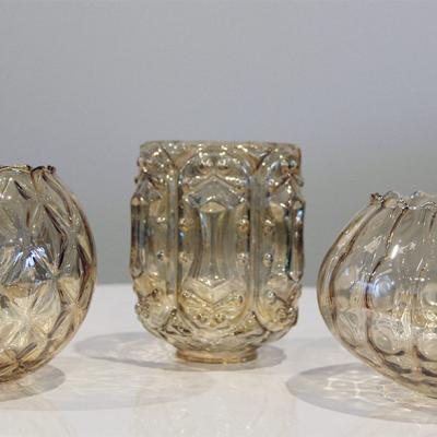Amber cut glass tealight holders - Wedding Hire Wanaka - Major & Minor