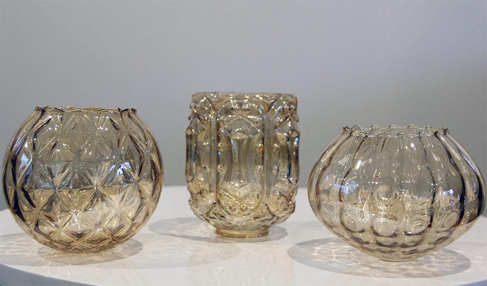 Amber cut glass tealight holders - Wedding Hire Wanaka - Major & Minor