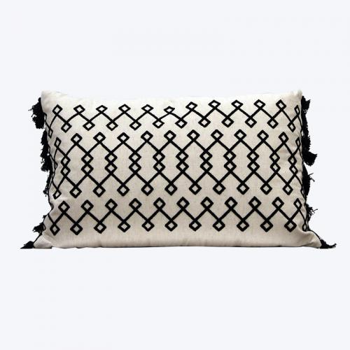 Black and Beige Diamond Cushion - Wedding Hire Wanaka - Major & Minor