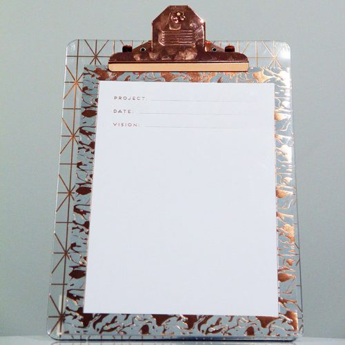 Clear & Rose Gold Clipboard - Wedding Hire Wanaka - Major & Minor
