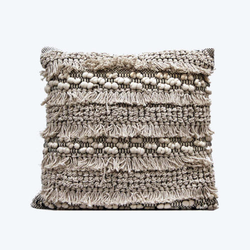 Black and Cream fringed Cushion - Wedding
