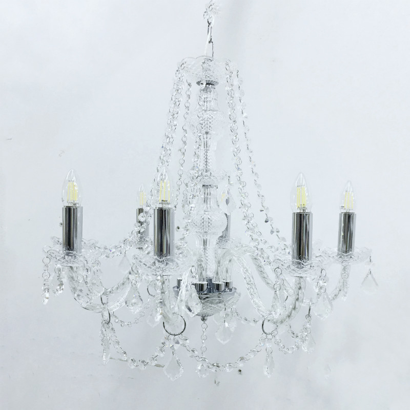 Crystal Glass Chandelier - Clear - Major and Minor Wanaka - Wedding Event and Party Hire