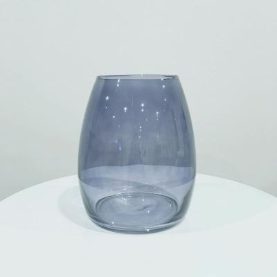 Louve Glass Vase Blue - Major and Minor - Wedding and Party Hire Wanaka