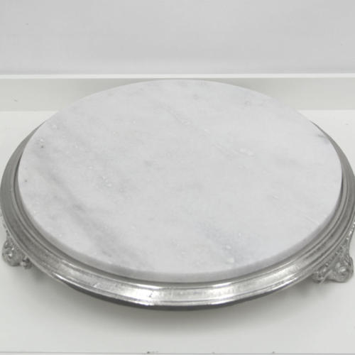 Marble Silver Cake Stand - Major and Minor - Wedding and Party Hire Wanaka