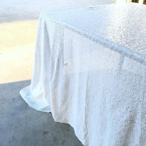 Sequin Tablecloth - White - major and minor - wedding and event hire and planning