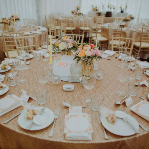Sequin Tablecloth rose gold - Major and Minor Hire Wanaka - Wanaka Wedding - Wanaka Planner