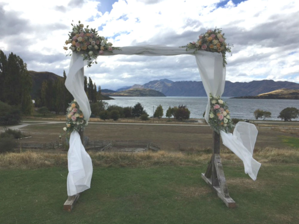 Wooden Arch Full - Dressed - Major and Minor - Wanaka Wedding and Party Hire