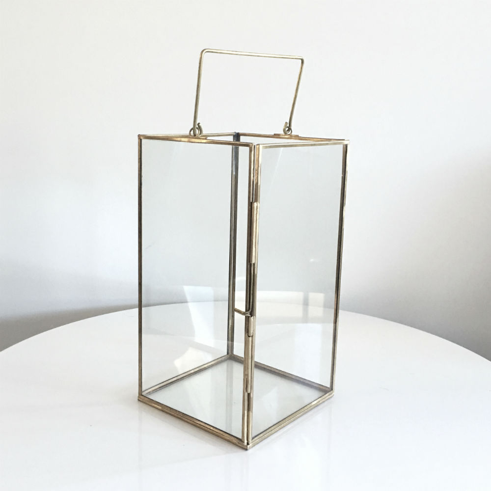 Glass Brass Lantern - Handle up - Wanaka Wedding Hire - Event Hire - Wedding Planning