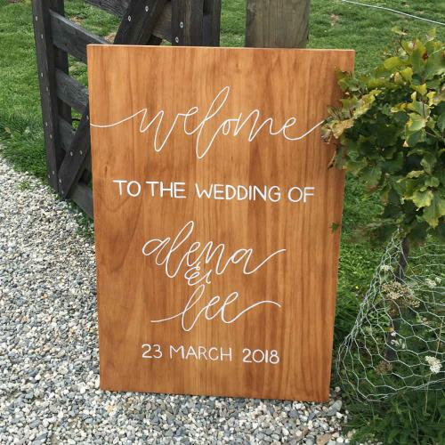 Wooden Sign - Welcome to the Wedding of - Wanaka Wedding Hire - Major and Minor Hire