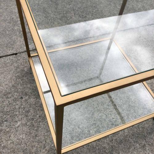 Glass Brass Table Close up Square