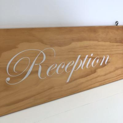Reception Sign | Close Up | Wanaka Weddings and Events | Major and Minor Hire