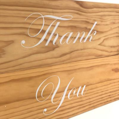 Thank You Sign | Close Up | Wanaka Weddings and Events | Major and Minor Hire