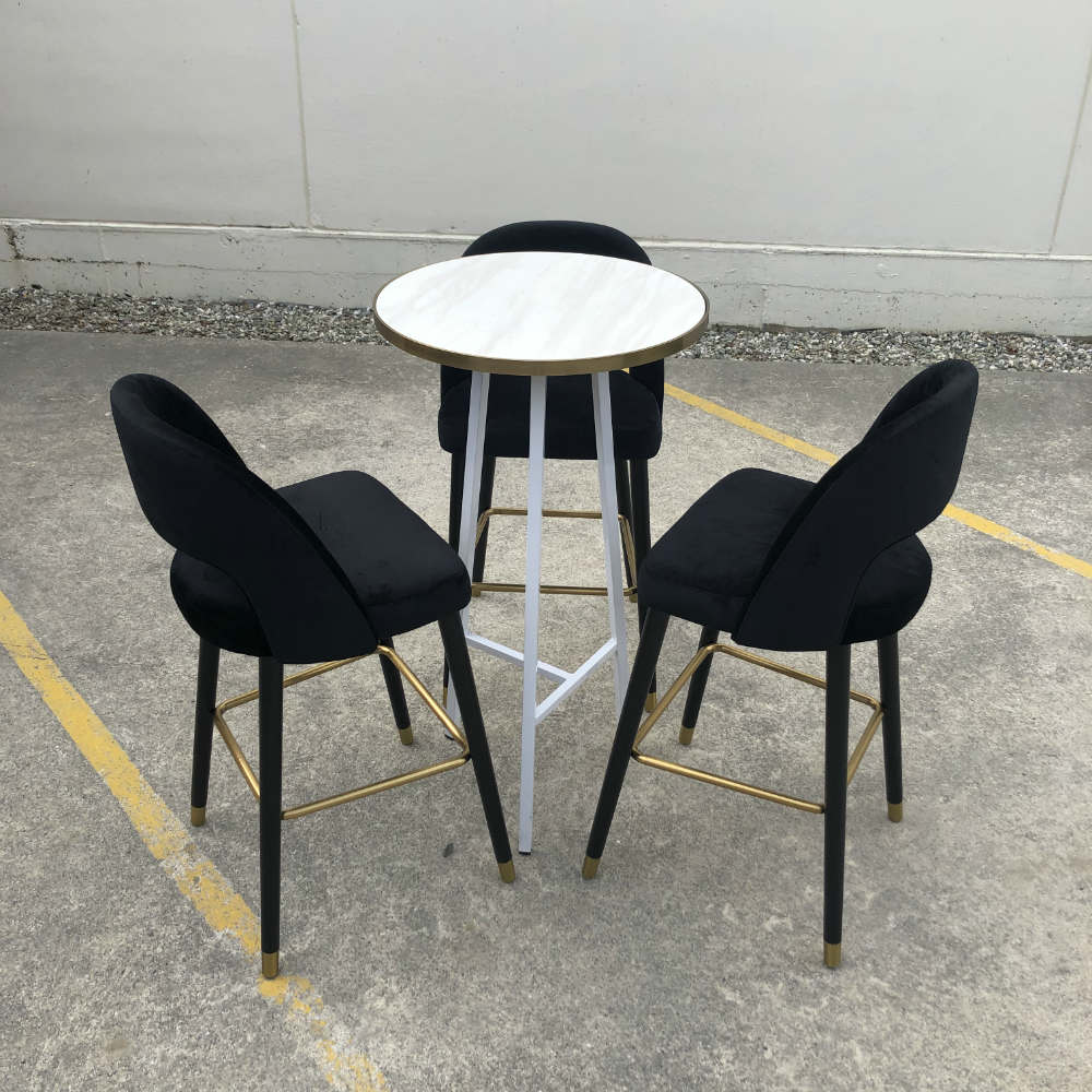 Byron Bar leaner with velvet chairs - Wanaka Wedding Hire - Wanaka Wedding and Events - Queenstown