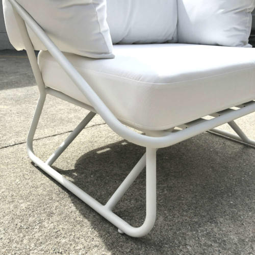 White Outdoor Armchair - Close up - Wanaka Wedding Hire - Queenstown Wedding Hire - Event Furniture