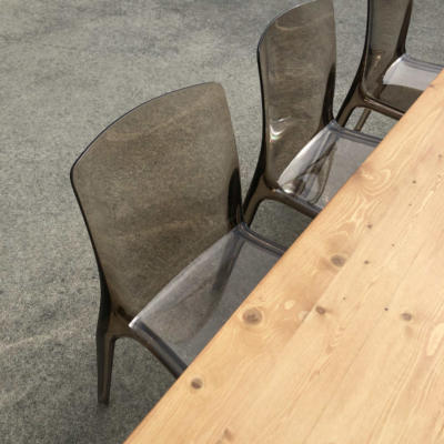 Wooden Dining Table with acrylic chairs - Wanaka Wedding Hire - Wanaka Wedding and Events