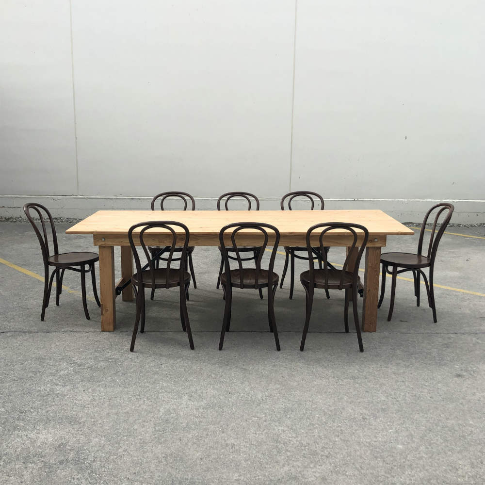 Wooden Dining Table with chairs - Wanaka Wedding Hire - Wanaka Wedding and Events - Queenstown