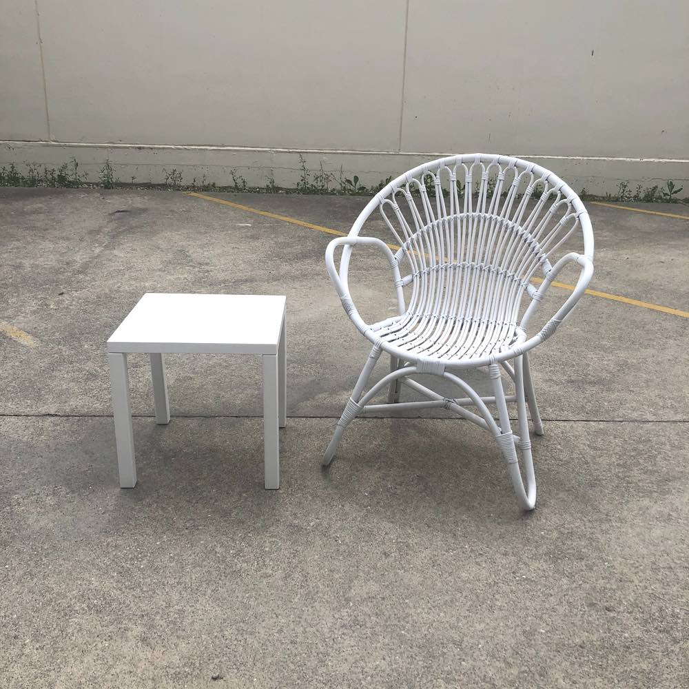 White Side Table | With chair | Wedding and Event Hire | Wanaka and Queenstown Hire