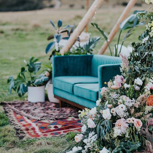 Green Velvet Couch _ Styled _ Wanaka Wedding Hire _ Queenstown Wedding Hire _ Major and Minor