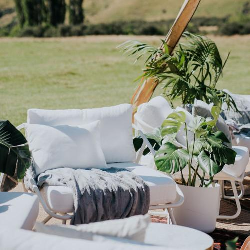 White Armchair _ Outdoor Furniture _ Styled _ Wanaka Wedding Hire _ Queenstown Wedding Hire _ Major and Minor